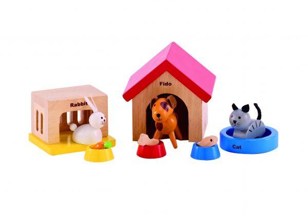 poppenhuis- hond - poes - konijn - beestenboel - family pets - E3455 - hape - speelgoed - houten speelgoed - peuter - kleuter - verjaardagscadeau - kado - cadeau - verjaardagskado - dn houten tol - de mouthoeve - boekel