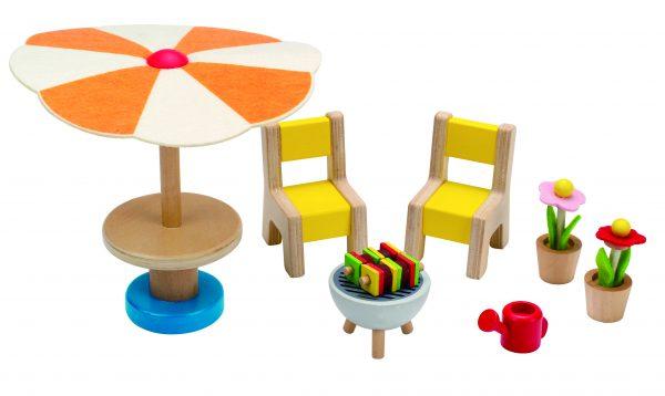 tuinset - patio set - hape - E3460 - poppenhuis - poppen- speelgoed - houten speelgoed - kinder speelgoed - child - kinderen- peuter - kleuter - verjaardagskado - verjaardagscadeau - kado - cadeau - dn houten tol - de mouthoeve - boekel - winkel