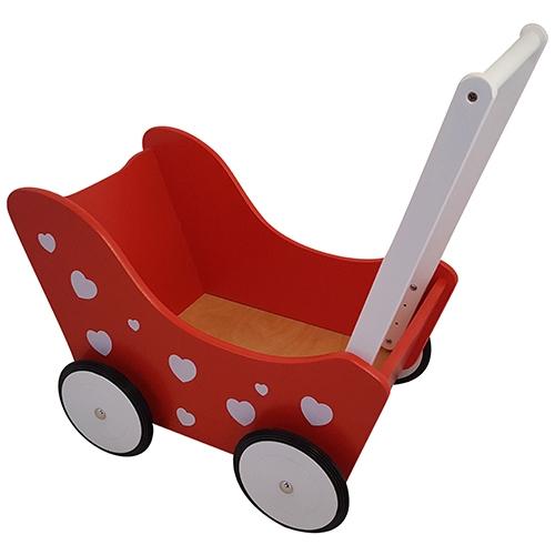 rood - poppenwagen - poppenwagen rood - hartjes - rood wit - houten speelgoed - speelgoed - poppen - kado - kinderspeelgoed - dn houten tol - L 48 CM x B 33 CM x H 52 CM - de mouthoeve - boekel - PW2345 - poppenmoeder