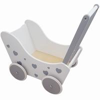 PW2346A - poppenwagen - wit - zilver - poppenwagen wit - poppenwagen met hartjes - houten poppenwagen - speelgoed - meisjes speelgoed - houten speelgoed - dn houten tol - de mouthoeve - boekel - playwood