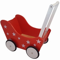 PW2347 - rood met sterretjes - poppenwagen - poppenwagen rood - poppenwagen rood met sterretjes - playwood - speelgoed - houten speelgoed - poppenwagen - meisjes speelgoed - hout - dn houten tol - de mouthoeve - boekel