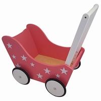 PW2348 - roze - roze met witte sterren poppenwagen - poppenwagen - roze poppenwagen - poppen - houten poppenwagen - playwood - speelgoed - houten speelgoed - dn houten tol - speelgoed winkel - de mouthoeve - boekel