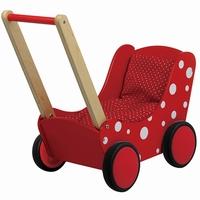 poppenwagen - poppen - poppenwagen rood met stippen - witte stippen - speelgoed - houten speelgoed - playwood - PW2350 - dn houten tol - de mouthoeve - boekel - meisjes speelgoed - cadeau - kraamcadeau