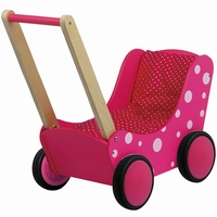 roze met witte stippen - houten poppenwagen - poppenwagen - poppenwagen roze - speelgoed - houten speelgoed - poppenwagen met dekje - ruberwielen - meisjes speelgoed - dn houten tol - speelgoed winkel - de mouthoeve - boekel - kraamcadeau - playwood - PW2351