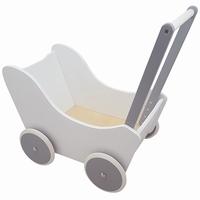 PW2352 - poppewagen - houten poppenwagen - witte poppenwagen - poppenwagen wit zilver - speelgoed - houten speelgoed - kraamcadeau - playwood - ruber wieltjes - dn houten tol - de mouthoeve - boekel - speelgoedwinkel