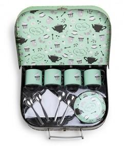 tea time koffer - thee set - kinder thee set - koffertje - speelgoed - houten speelgoed - kinder speelgoed - dn houten tol - de mouthoeve - boekel - speelgoedwinkel - Cooking Dreams Tea Set Green - 220067 - speelgoed koffer - hape