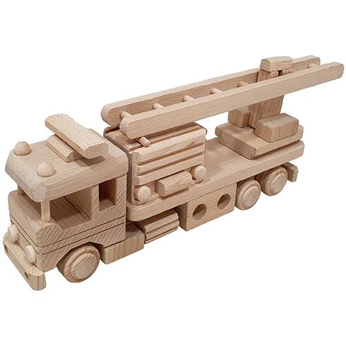 brandweerwagen - brandweerauto - houten brandweerauto - speelgoed - houten speelgoed - kraamcadeau - beukenhout - dn houten tol - de mouthoeve - sl396 - brandweer vrachauto met ladder - boekel