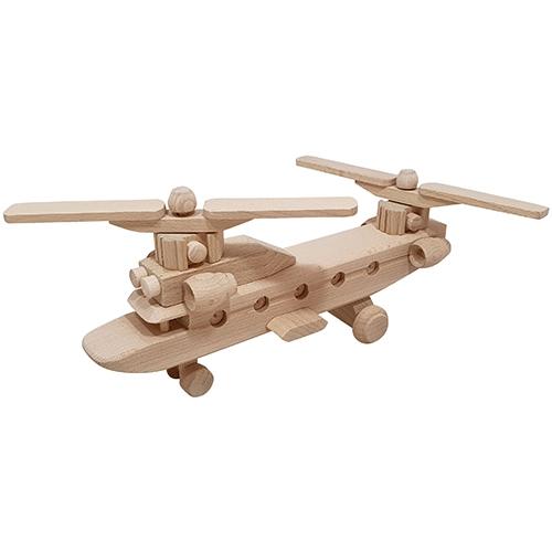 chinook - SL383 - houten chinook - voertuigen - houten voertuigen - kraamcadeau - speelgoed - houten speelgoed - decoratie - dn houten tol - Helikopter Chinook met 2 propellers - de mouthoeve - boekel - speelgoedwinkel