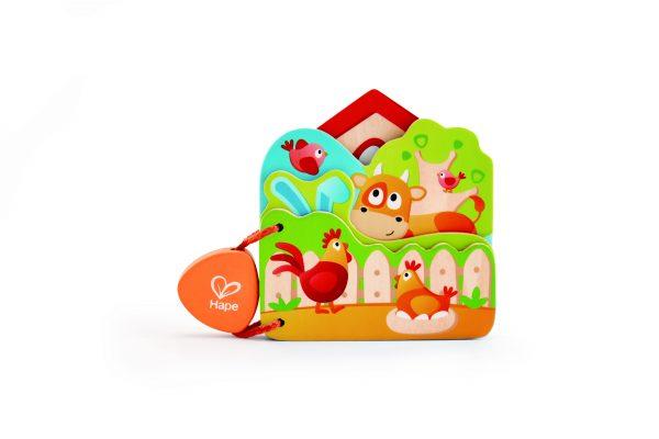 hape - E0046 - speelgoed - houten speelgoed - boekje - houten boekje - boerderij dieren - spelen - dreumes - dn houten tol - de mouthoeve - boekel - speelgoedwinkel - cadeau