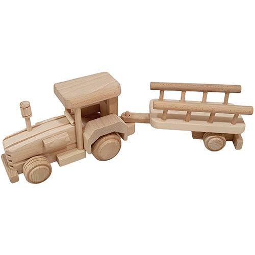tractor - houten tractor - blank hout - speelgoed - houten speelgoed - kraamcadeau - kado - tractor met aanhanger - dn houten tol - de mouthoeve - boekel - speelgoedwinkel - tractor met aanhanger beukenhout - SL385