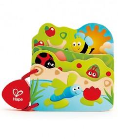 hape - E0043 - boekje - houten boekje - baby - dreumes- speelgoed - houten speelgoed - voorlezen - dn houten tol - de mouthoeve - boekel - insecten