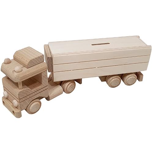 vrachtwagen - houten vrachtwagen - blank houten speelgoed - spaarpot - houten spaarpot - speelgoed - houten speelgoed - spaarpot - vrachtwagen met oplegger spaarpot - dn houten tol - de mouthoeve - boekel - speelgoedwinkel - kraamcadeau - Sl411