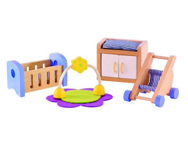 poppenhuis - babykamer - bedje - poppenhuisbedje - speelgoed - houten speelgoed - hape - E3459 - dn houten tol - de mouthoeve - boekel - speelgoedwinkel