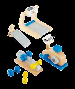 gym - sporttoestellen - poppenhuis - poppenhuisinrichting - speelgoed - houten speelgoed - E3458 - hape - dn houten tol - de mouthoeve - boekel - speelgoedwinkel - poppenhuis