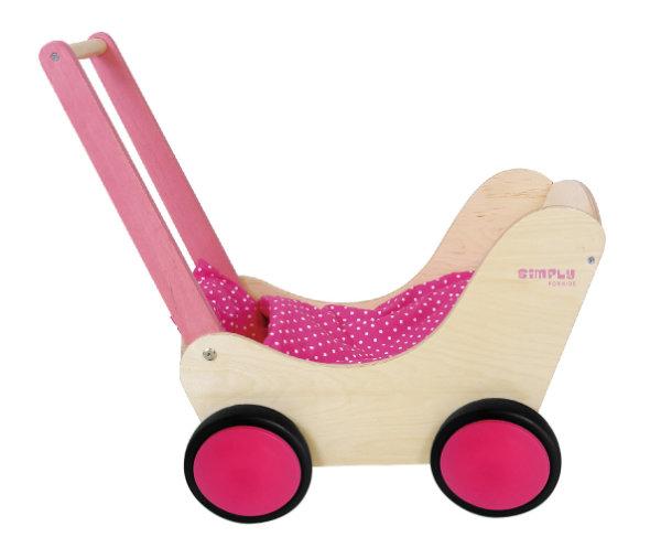 poppenwagen - houten poppenwagen - hout - blank hout - rubber wieltjes - simply for kids - speelgoed - houten speelgoed - wooden toys - toys - dn houten tol - de mouthoeve - boekel - dekbedje - shop