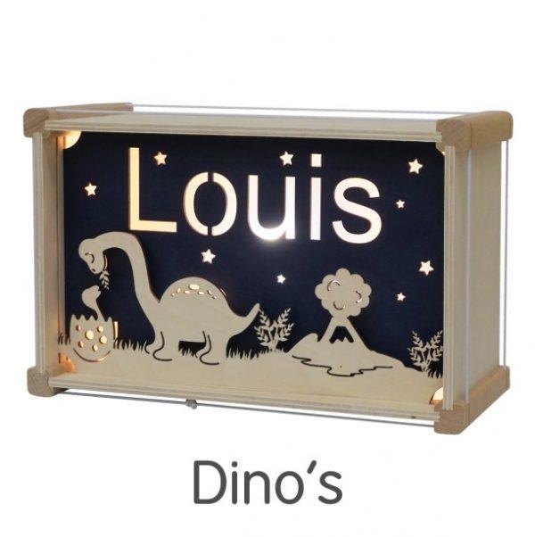 Het houtlokael - kleuren - thema lamp - speelgoed - kinderlamp - hout - nachtlamp - houten - shop - dino's - thema