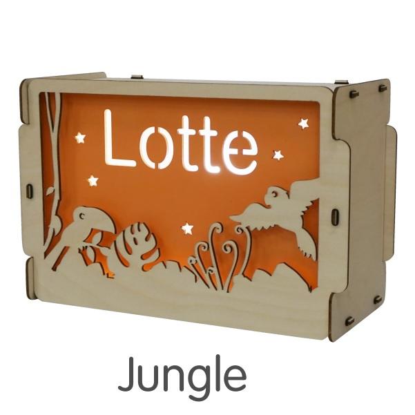 Het houtlokael - kleuren - thema lamp - speelgoed - kinderlamp - hout - nachtlamp - houten - shop - jungle - thema