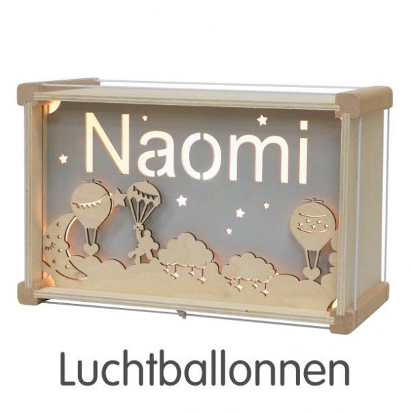 Het houtlokael - kleuren - thema lamp - speelgoed - kinderlamp - hout - nachtlamp - houten - shop - luchtballonnen- thema