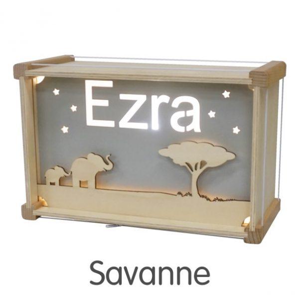 Het houtlokael - kleuren - thema lamp - speelgoed - kinderlamp - hout - nachtlamp - houten - shop - savanne - thema
