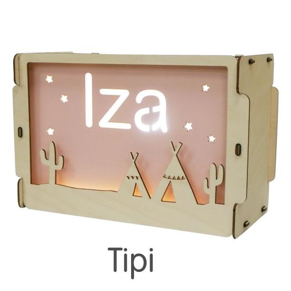 Het houtlokael - kleuren - thema lamp - speelgoed - kinderlamp - hout - nachtlamp - houten - shop - tipi - thema