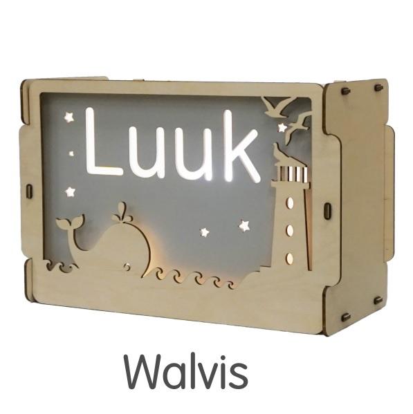 Het houtlokael - kleuren - thema lamp - speelgoed - kinderlamp - hout - nachtlamp - houten - shop - Walvis - thema