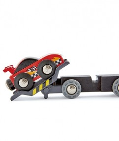 race car transporter - verkeer - trein - racewagen treintransporter - 6 delige autotransporter set - treinen - treinbaan - hape - speelgoed - houten speelgoed - dn houten tol - de mouthoeve - boekel - speelgoedwinkel - E3735 - raceauto - kinderspeelgoed