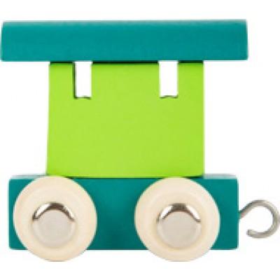 houten locomotief - lettertrein - letters - houten letters - blank houtenlettertrein - gekleurde houten lettertrein - speelgoed - houten speelgoed - kraamcadeau - dn houten tol - winkel - shop - de mouthoeve - small foot - locomotief - wagon - houten letter wagon - wagon groen