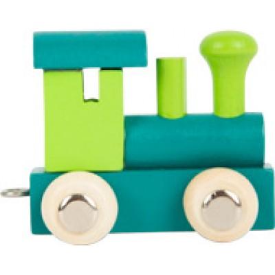 houten locomotief - lettertrein - letters - houten letters - blank houtenlettertrein - gekleurde houten lettertrein - speelgoed - houten speelgoed - kraamcadeau - dn houten tol - winkel - shop - de mouthoeve - small foot - locomotief - wagon - houten letter locomotief - locomotief groen