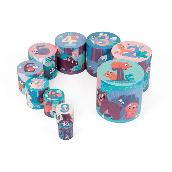 blokken - stapeltoren magische boom - stapeltoren - karton - kartonnen stapeltoren - speelgoed - educatief speelgoed - houten speelgoed - baby speelgoed - dn houten tol - de mouthoeve - boekel - shop - webshop - janod - vierkante stapelblokken - bosdieren