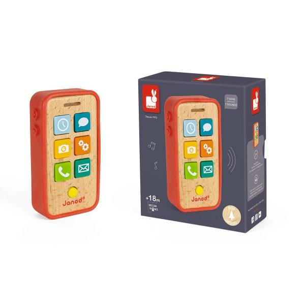 Janod - telefoon - kinder telefoon - houten telefoon - speel telefoon - speelgoed - houten speelgoed - educatief speelgoed - dn houten tol - de mouthoeve - boekel - shop - winkel - cadeau voor kind