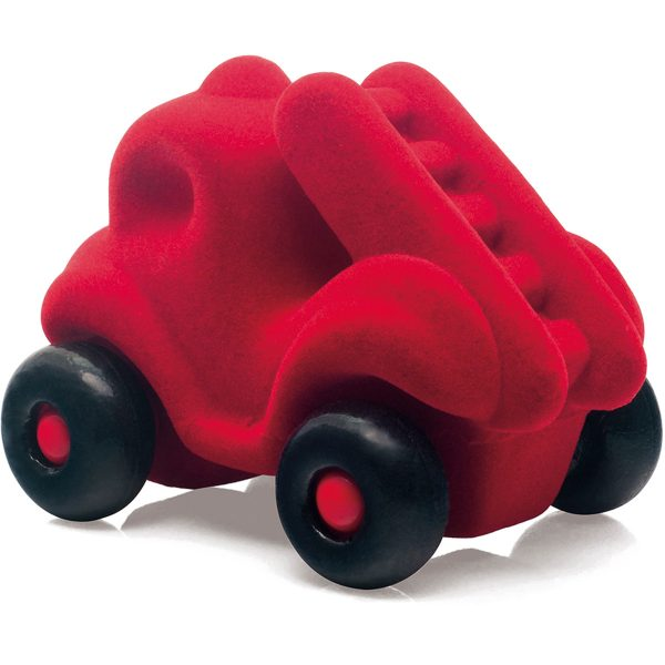 rubbabu - voertuig - baby speelgoed - rubber speelgoed - 100% natuurlijk - speelgoed - houten speelgoed - dn houten tol - de mouthoeve - boekel - shop stil speelgoed - brandweerauto - rood
