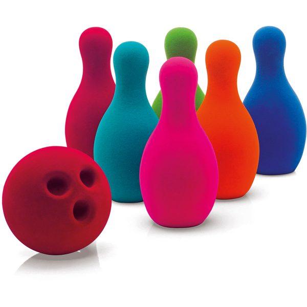 bowling set - bowling - rubbabu - gekleurde pins - speelgoed - houten speelgoed - kinder bowling set - dn houten tol - de mouthoeve - boekel - shop