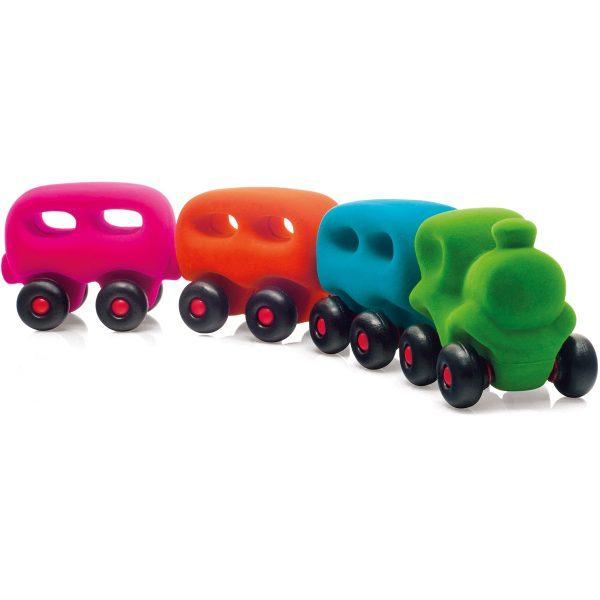 rubbabu - voertuig - baby speelgoed - rubber speelgoed - 100% natuurlijk - speelgoed - houten speelgoed - dn houten tol - de mouthoeve - boekel - shop stil speelgoed - racewagen - rood - speelgoed - zacht speelgoed - auto - groene auto - trein - wagons - rubbabu trein - gekleurde trein - baby trein - kraamcadeau