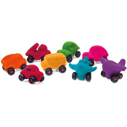 Shop -winkel - auto - rode auto - rubbabu - voertuigen - kleine auto - zachte auto - speelgoed - kraamcadeau - houten speelgoed - dn houten tol - de mouthoeve - boekel