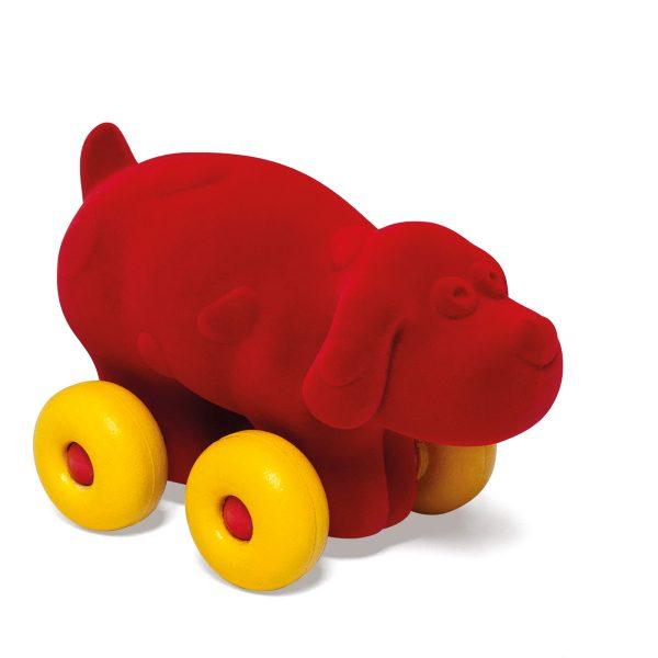 kraamcadeau - rubbabu - voertuig - baby speelgoed - rubber speelgoed - 100% natuurlijk - speelgoed - houten speelgoed - dn houten tol - de mouthoeve - boekel - shop stil speelgoed - vliegtuig - dieren - knuffeldieren - hond - rood