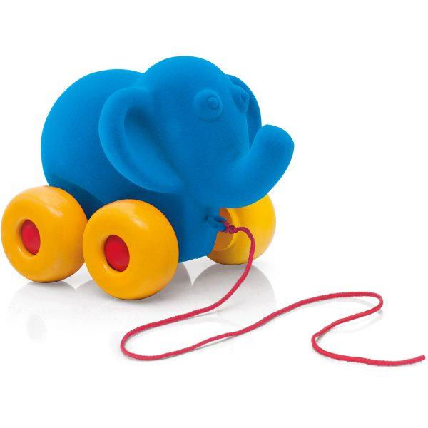 kraamcadeau - rubbabu - voertuig - baby speelgoed - rubber speelgoed - 100% natuurlijk - speelgoed - houten speelgoed - dn houten tol - de mouthoeve - boekel - shop stil speelgoed - vliegtuig - dieren - knuffeldieren - olifant - blauwe olifant - trekfiguur olifant