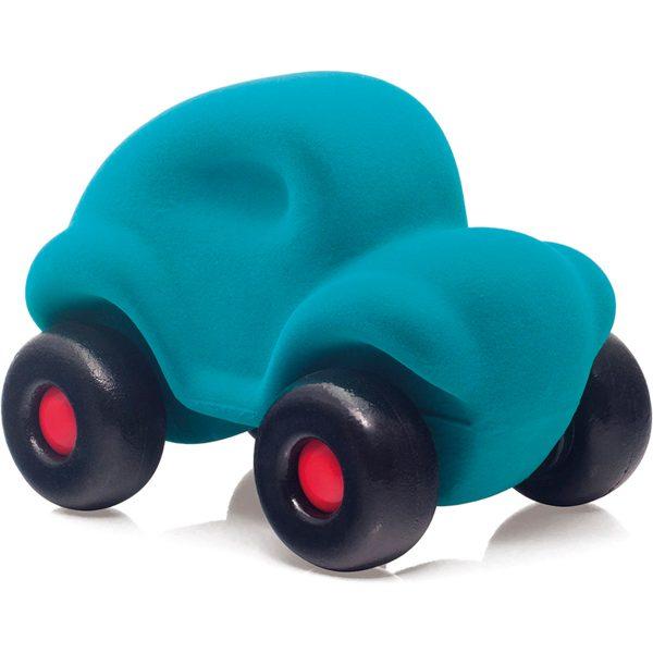 rubbabu - voertuig - baby speelgoed - rubber speelgoed - 100% natuurlijk - speelgoed - houten speelgoed - dn houten tol - de mouthoeve - boekel - shop stil speelgoed - racewagen - rood - speelgoed - zacht speelgoed - auto - blauwe auto