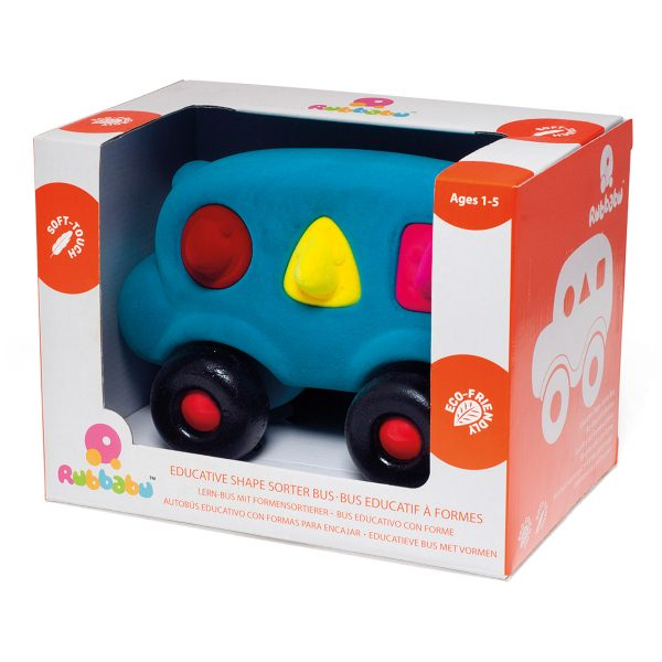rubbabu - vormenbus groot - blauwe bus - zachte bus - zacht speelgoed - leerzaam speelgoed - kraamcadeau - rubbabu - auto - voertuig - speelgoed - houten speelgoed - dn houten tol - de mouthoeve - boekel - shop - winkel