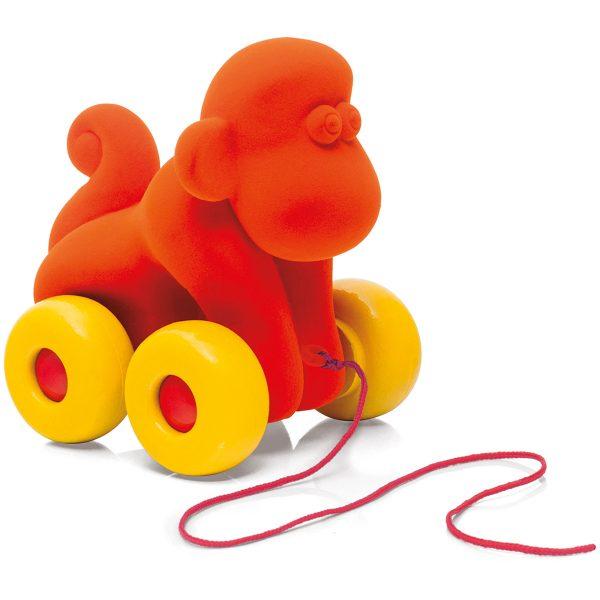 kraamcadeau - rubbabu - voertuig - baby speelgoed - rubber speelgoed - 100% natuurlijk - speelgoed - houten speelgoed - dn houten tol - de mouthoeve - boekel - shop stil speelgoed - vliegtuig - dieren - knuffeldieren - olifant - blauwe olifant - trekfiguur aap - oranje aap - aap