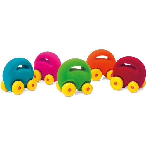 rubbabu - voertuig - baby speelgoed - rubber speelgoed - 100% natuurlijk - speelgoed - houten speelgoed - dn houten tol - de mouthoeve - boekel - shop stil speelgoed - rood - Mascotte