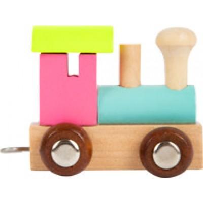 houten locomotief - lettertrein - letters - houten letters - blank houtenlettertrein - gekleurde houten lettertrein - speelgoed - houten speelgoed - kraamcadeau - dn houten tol - winkel - shop - de mouthoeve - small foot - locomotief - wagon - houten letter locomotief - locomotief roze