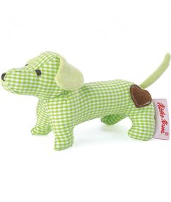 kathe kruse - dog - hond - mini grabbing toy dachshund green - knuffel - knuffel hond - speelgoed - shop - dn houten tol - boekel - de mouthoeve - baby grijpspeeltje hond groen