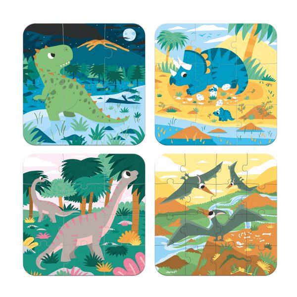 Janod Puzzel - dino's - dinosaurus puzzel - puzzel - kartonnen puzzel - kinderpuzzel - puzzel in koffer - janod - speelgoed - houten speelgoed - educatief speelgoed - dn houten tol - de mouthoeve - boekel - speelgoedwinkel boekel - shop - webshop
