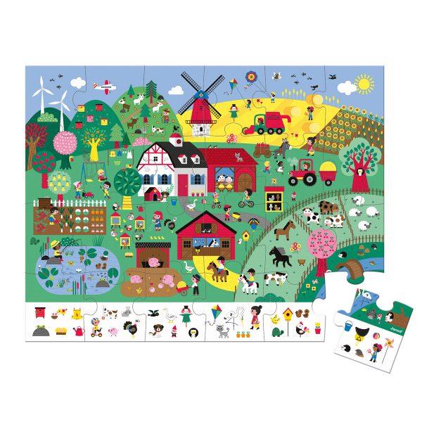 puzzel - puzzel jungle - Janod Puzzel - Panorama jungle - janod - dieren puzzel - bos puzzel - dieren in de jungle - speelgoed - houten speelgoed - educatief speelgoed - dn houten tol - de mouthoeve - boekel - puzzel in koffer - boerderij puzzel