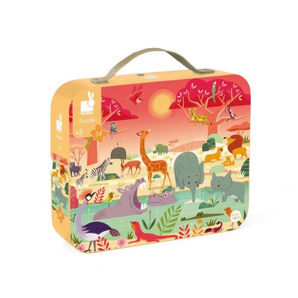 Janod Puzzel - Het Dierenreservaat - puzzel - kartonnen puzzel - kinder puzzel - puzzel in koffer - janod - speelgoed - houten speelgoed - educatief speelgoed - dn houten tol - de mouthoeve - boekel - speelgoedwinkel boekel - shop - webshop