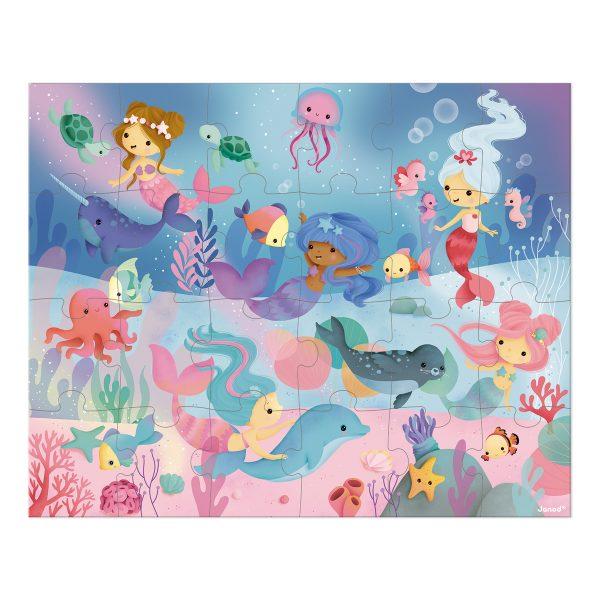 Janod Puzzel - Zeemeerminnen - puzzel - puzzel in koffer - meisjes puzzel - kinder puzzel - kartonnen puzzel - speelgoed - educatief speelgoed - houten speelgoed - dn houten tol - de mouthoeve - boekel - shop - winkel - speelgoedwinkel boekel - janod