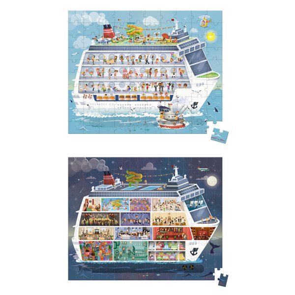 Janod Puzzel - Cruiseschip - puzzels - twee in 1 koffer - 100 stukjes - 200 stukjes - janod puzzel - janod - puzzel in koffer - speelgoed - houten speelgoed - educatief speelgoed - dn houten tol - de mouthoeve - boekel - shop - speelgoedwinkel boekel