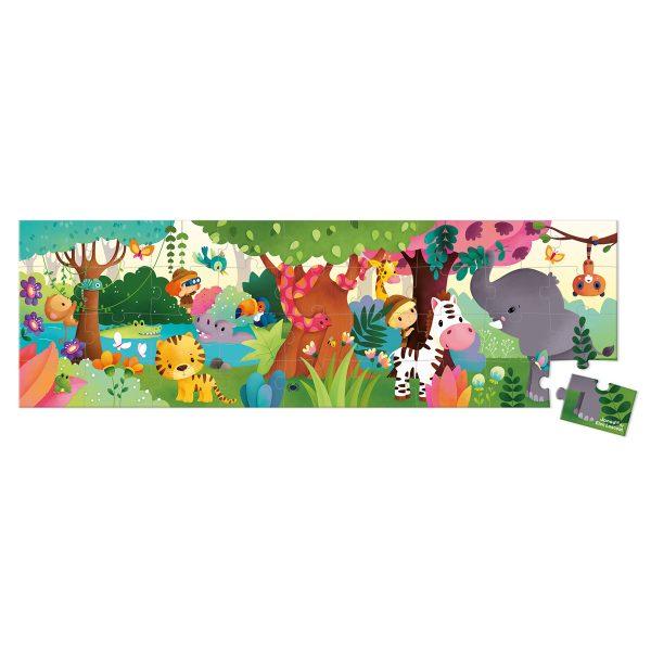 puzzel - puzzel jungle - Janod Puzzel - Panorama jungle - janod - dieren puzzel - bos puzzel - dieren in de jungle - speelgoed - houten speelgoed - educatief speelgoed - dn houten tol - de mouthoeve - boekel - puzzel in koffer