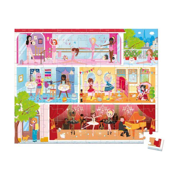 Janod Puzzel - Dansschool - puzzel dansschool - puzzel - kartonnen puzzel - kinderpuzzel - puzzel in koffer - janod - speelgoed - houten speelgoed - educatief speelgoed - dn houten tol - de mouthoeve - boekel - speelgoedwinkel boekel - shop - webshop