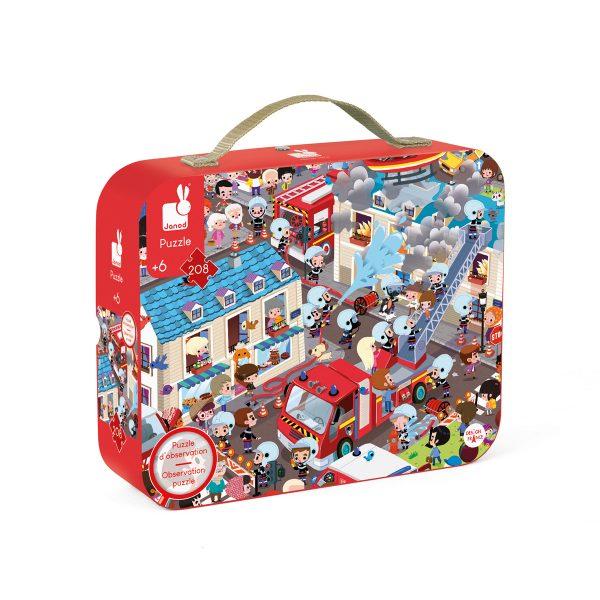 brandweer puzzel - puzzel - puzzel jungle - Janod Puzzel - Panorama jungle - janod - dieren puzzel - bos puzzel - dieren in de jungle - speelgoed - houten speelgoed - educatief speelgoed - dn houten tol - de mouthoeve - boekel - puzzel in koffer - ronde puzzel